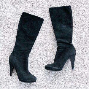 Prada black suede knee high heeled boots